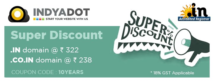 It will be 10 years @ 17th April 2018 providing Domain Registration service   http:// INDYADOT.com  &nbsp;   Accredited .IN Registrar  https://www. indyadot.com  &nbsp;    On this occasion giving small offer in domain - .IN @ Rs.322 .CO.IN @ Rs.240  Coupon: 10YEARS  #indyadot #domain #Mumbai #India<br>http://pic.twitter.com/ioO1shVnM0