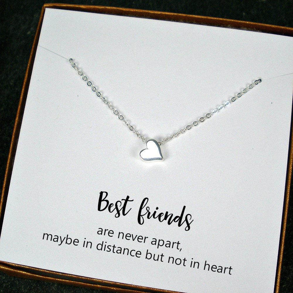 Best Friend Jewelry Long Distance Friendship Gift Birthday Christmas Heart Necklace Tuppu 624314d