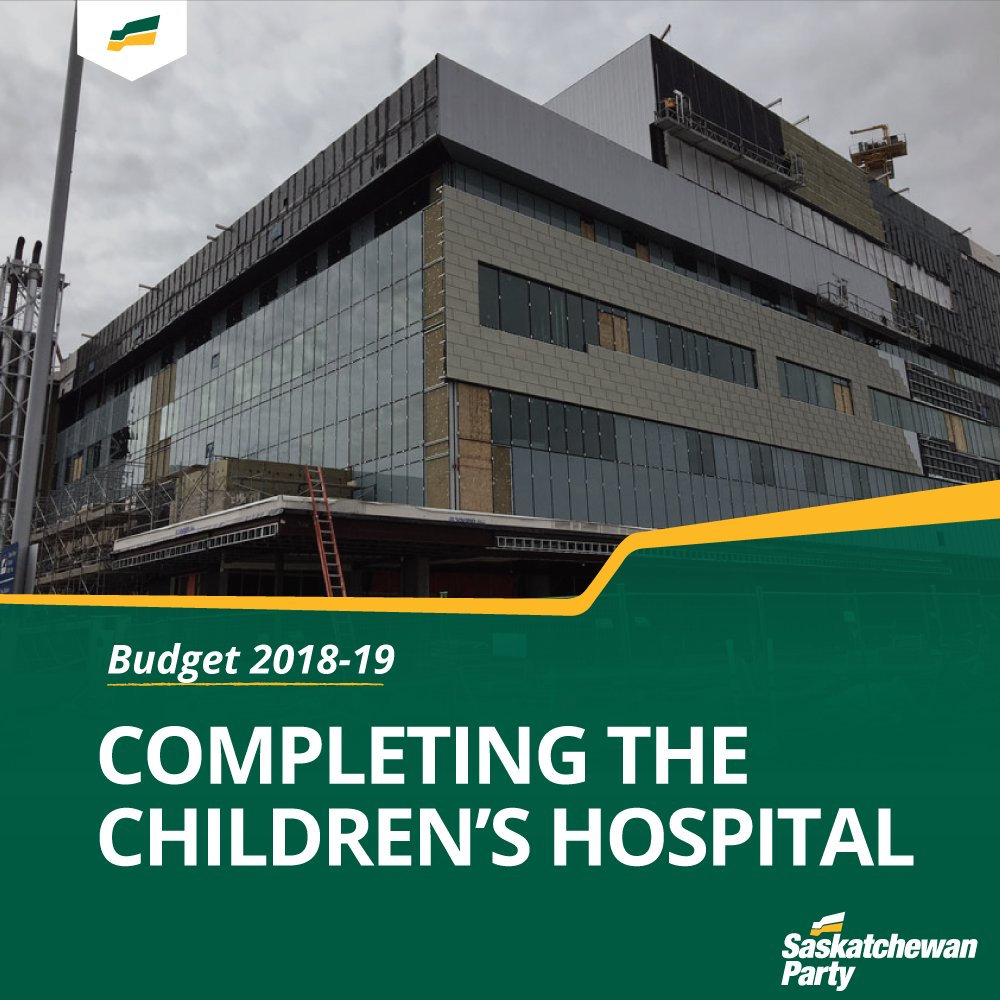 #skbudget18 includes funding to complete the building of @Childhospitalsk in Saskatoon. The hospital #ontrackis  to be completed in late-2019.#skpoli