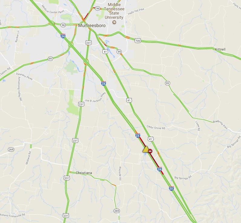 Traffic alert: i-24 wb past murfreesboro is closed in