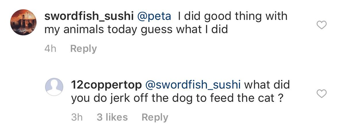 Damn people troll the @peta Instagram comments savagely!