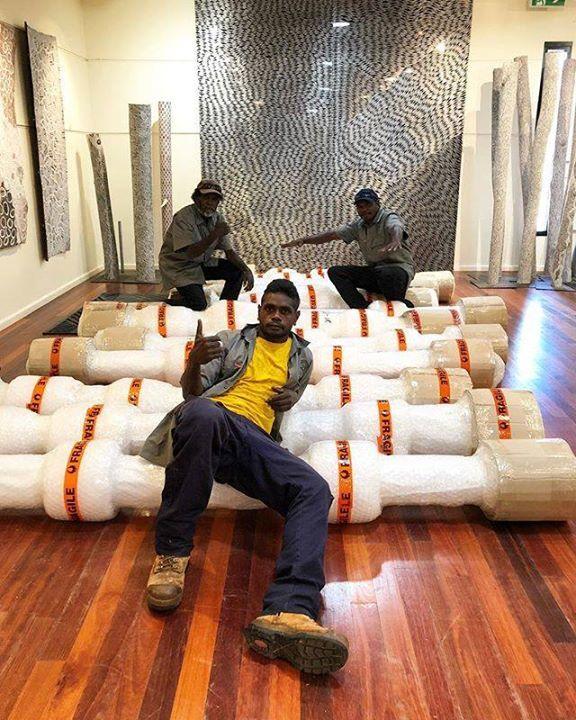 Packing packing packing. Dj, Nambadj and Wanapa working hard on a big Larrakitj dispatch. #artsworker #indigenousart #art #packing #hardwork #ntaustralia #bukularrnggaymulka #yolngupower #aborginalart #australiancontemporaryart https://ift.tt/2GREGuVpic.twitter.com/WHsg47j4T2