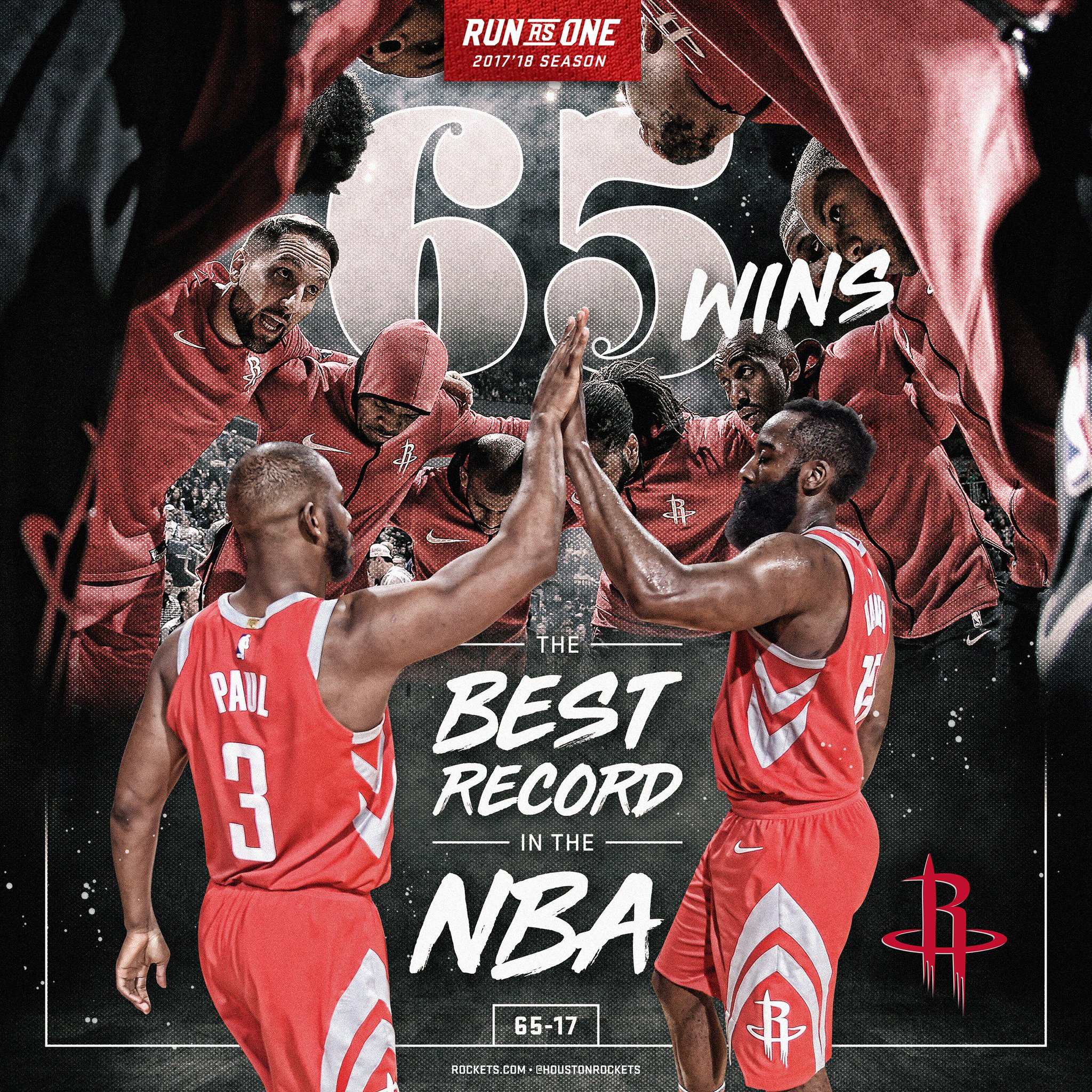 RT to congratulate the squad on a franchise record 65 wins! #RunAsOne ��  On to the playoffs... https://t.co/gLKZ1benPD