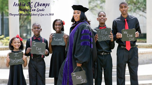 Single mother of 5 dons cap and gown in viral law school graduation ...