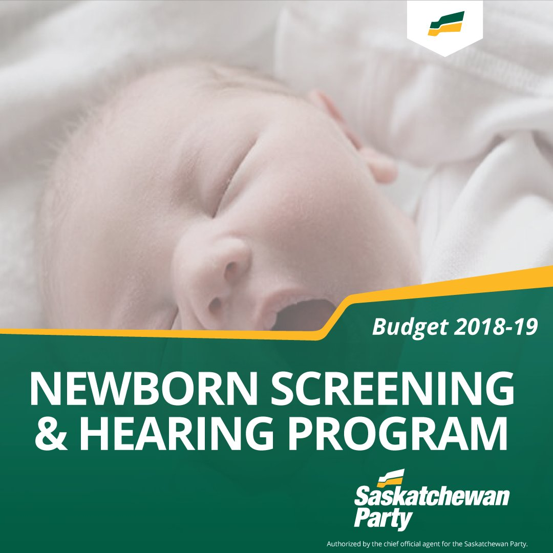 Our #skbudget18 includes $523,000 to create a Universal Newborn Screening Program in Saskatchewan. This program will provide a screening test for babies born in SK hospitals to test for early detection of hearing loss.   #skpoli
