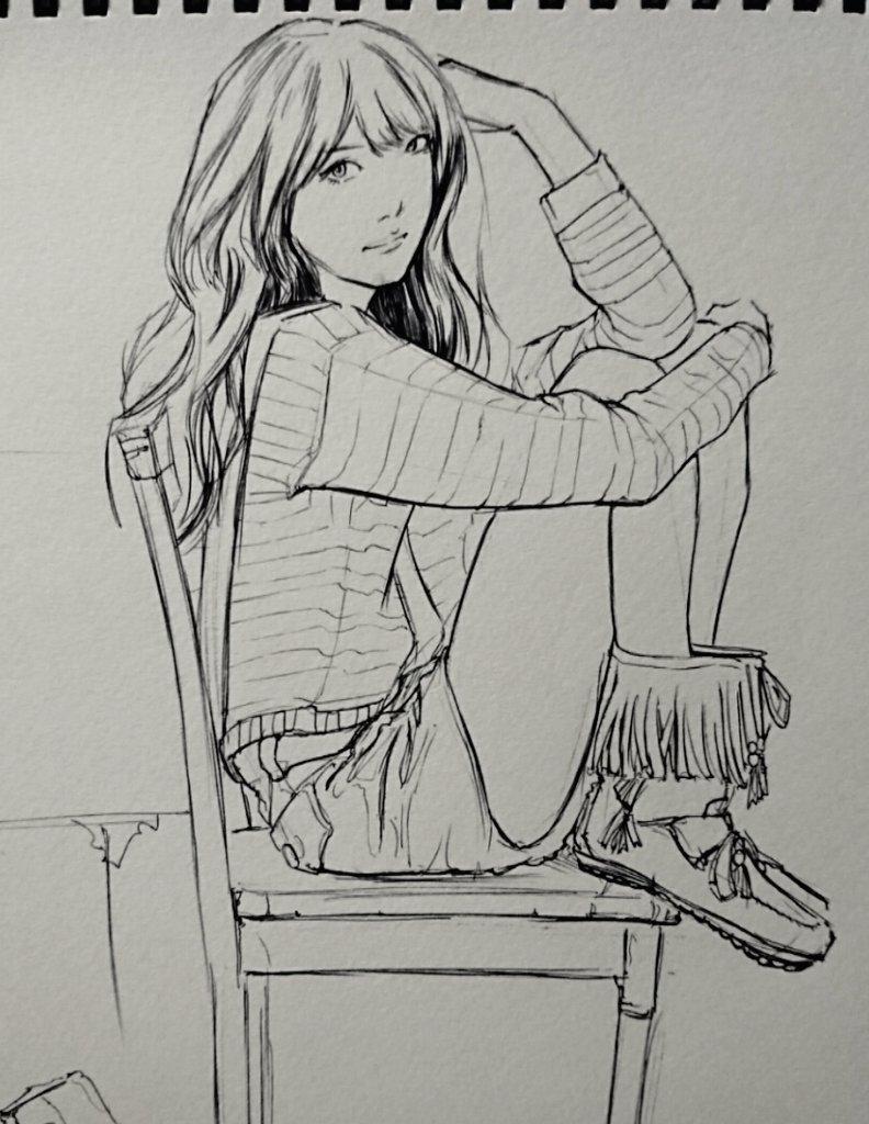 #桐谷美玲 さん #クロッキー #drawing #ボールペン #デッサン  今日の練習。   マイブームの ボールペンクロッキー。