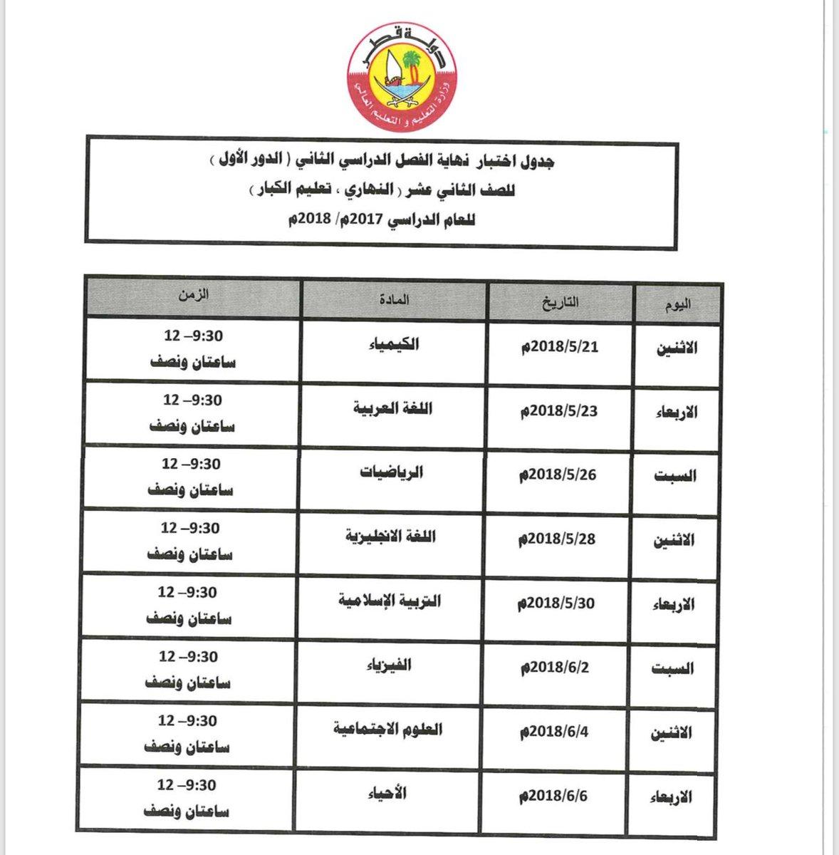 موعد اختبارات الفصل الدراسي الثاني
