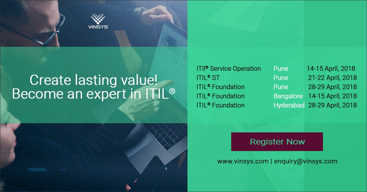 Vinsys On Twitter Get Certified In The Itil From Vinsys Indias