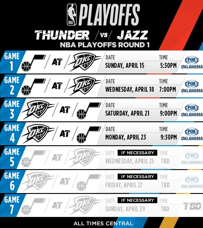 ICYMI. Round 1 Thunder v Jazz Playoff schedule came out in the wee small hours.�� https://t.co/gSUmmssjS4