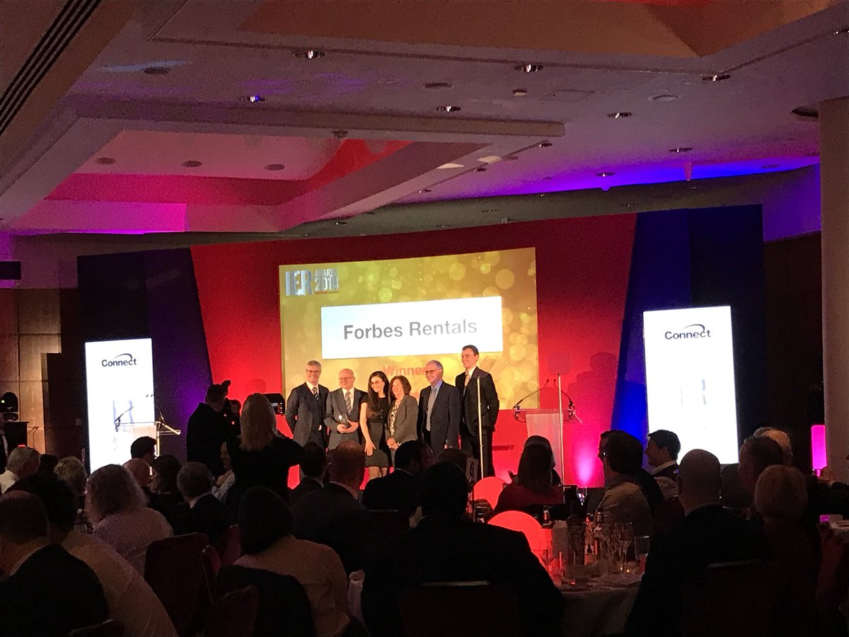 And the winner of the Best Customer Service award – sponsored by @ConnectDSL – is @ForbesRentals! #WellDone #IERAwards2018