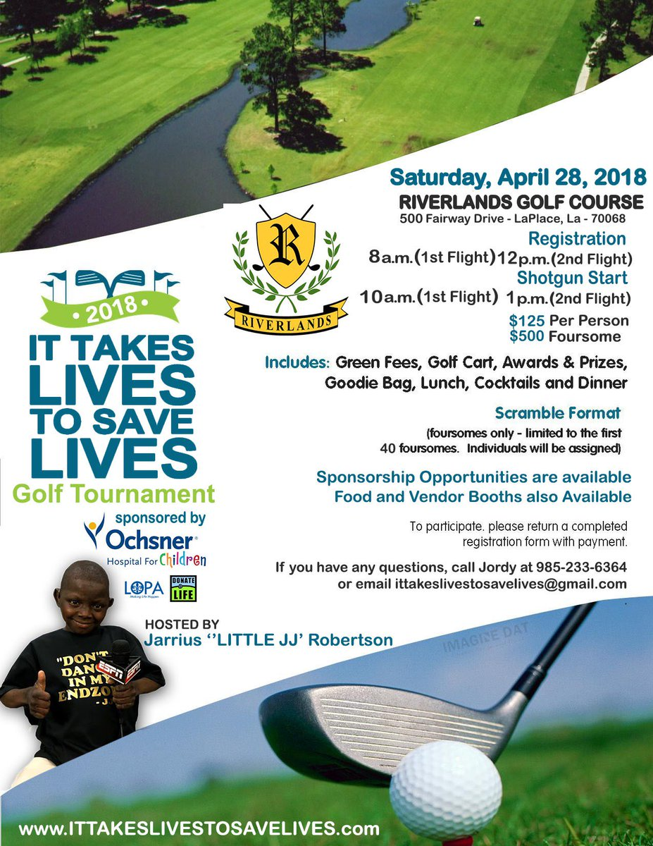 Its not 2 late 2 join in my 1yr anniversary celebration Golf tournament. Please support the cause @TakesSave @wdsu @WAFB9Sports @NOLAnews