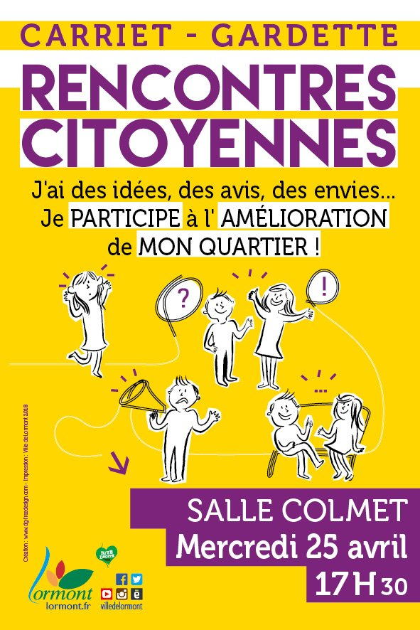"""""""J'ai des idées, des envies, des avis... Je participe à l'amélioration de mon quartier"""". La prochaine rencontre citoyenne du quartier Carriet/Gardette aura lieu mercredi 25 avril à 17h30 à l'espace citoyen Colmet. #citoyenneté #jemexprime #monquartier #lormont #carriet #gardette https://t.co/IHo5I3jLBY"""