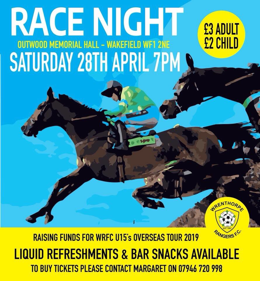 Can you pick a winner? Last few tickets remaining for our Race Night in a few weeks time, bring a team along, family, friends, work mates, great night of fun to be had by all ! Just message us for tickets.    #Wakefield #Wrenthorpe #outwood #racenight #placeyourbets<br>http://pic.twitter.com/uD6LiytJIF