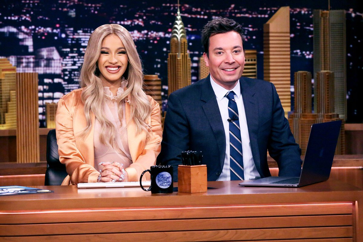 For her second appearance on @FallonTonight, @iamcardib co-hosted with @jimmyfallon and performed #MoneyBag! Is it just us, or does the way Fallon interviews Cardi come off awkwardly?! #InvasionofPrivacy soundcloud.com/remindmetotell…
