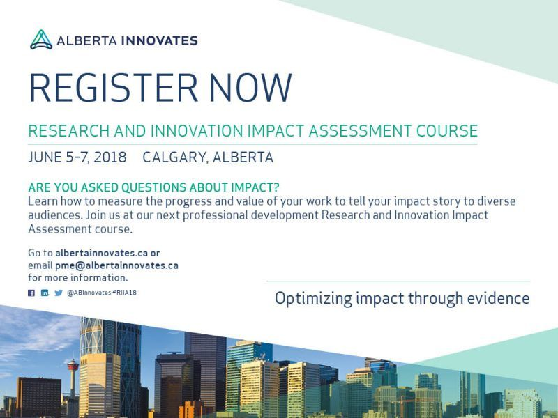 Read the business case to attend the 2018 Research and Innovation Impact Assessment course:  https:// buff.ly/2ql6IDQ  &nbsp;  . Optimizing impact through evidence. #RIIA18 #researchimpact #ABevents #yycevents<br>http://pic.twitter.com/oznxZ1YmUP