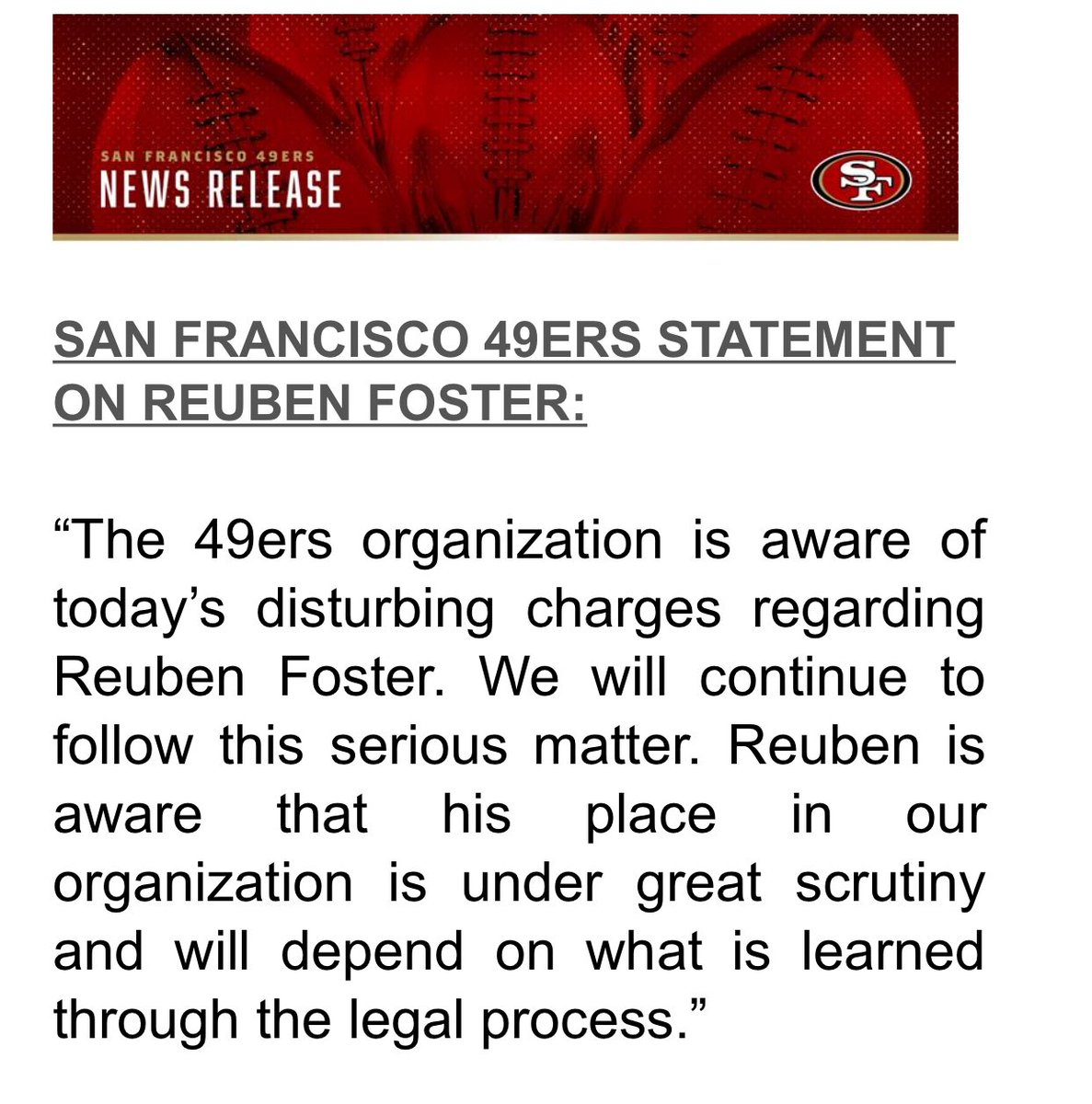 49ers on their LB Reuben Foster: