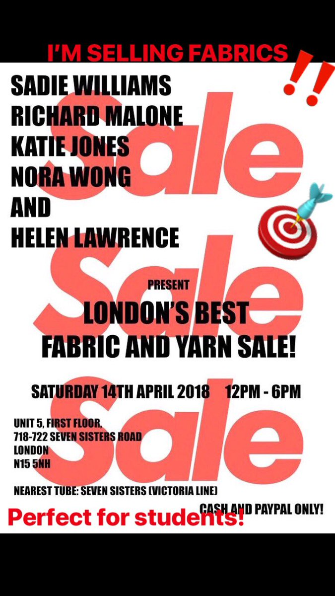‼️FABRIC & YARN SALE ALERT ⚠️ I'm selling some fabrics (lots of smaller pieces perfect for students, as well as some fabrics on rolls) along with some other great young London designers selling fabrics and yarns! This Sat 12-6 in Seven Sisters! https://t.co/BnSsdJwZke
