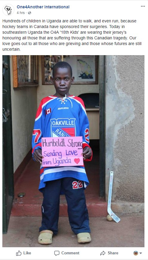 A Child From Uganda Showing Support For The Canadian Hockey Players Who Have Been Quietly Helping So Many For So Long