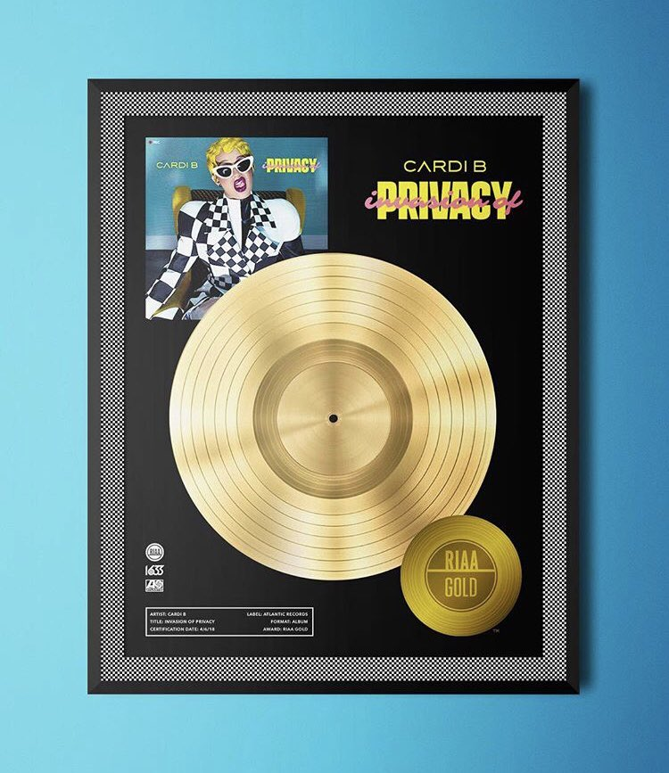 Congratulations are in order! @iamcardib's #InvasionofPrivacy immediately went GOLD after its release, due to the success of its lead single, #BodakYellow! She's now the first female artist to achieve a gold certification on release day! #InvasionofPrivacy soundcloud.com/remindmetotell…
