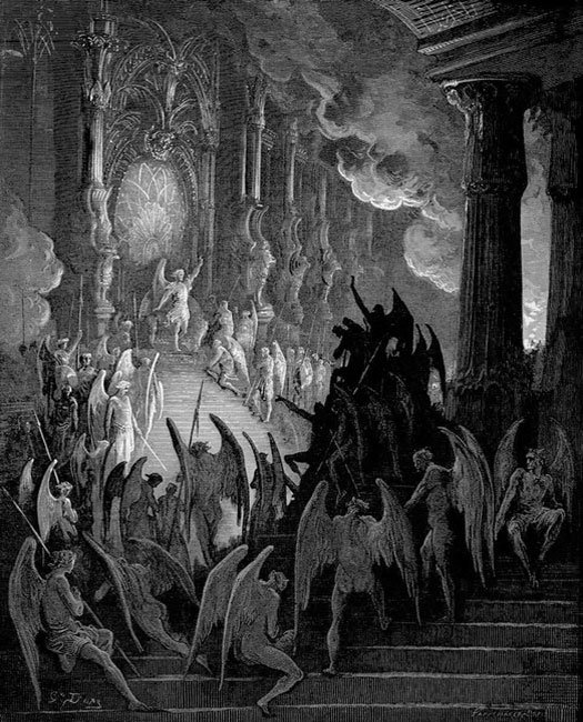 """Anthony Oliveira on Twitter: """"Images of Pandemonium - Satan's majestic  capital in Hell. I think Dore's Baroque nightmare is most right but i LOVE  John Martin's version where Satan's throne seems itself"""