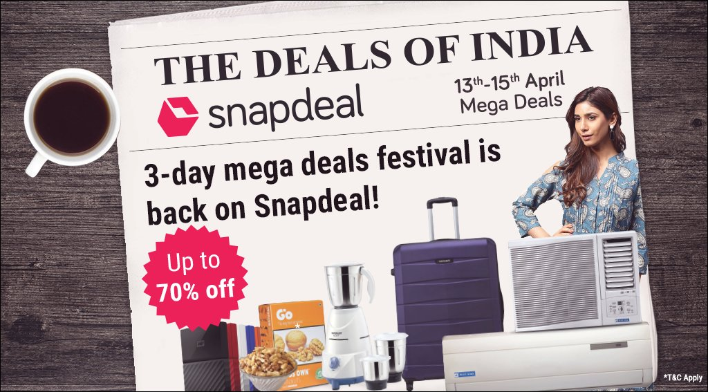 1f4a71e14ca The  DealsOfIndia are back on Snapdeal! 3 days of mega deals with up to 70%  off on fashion