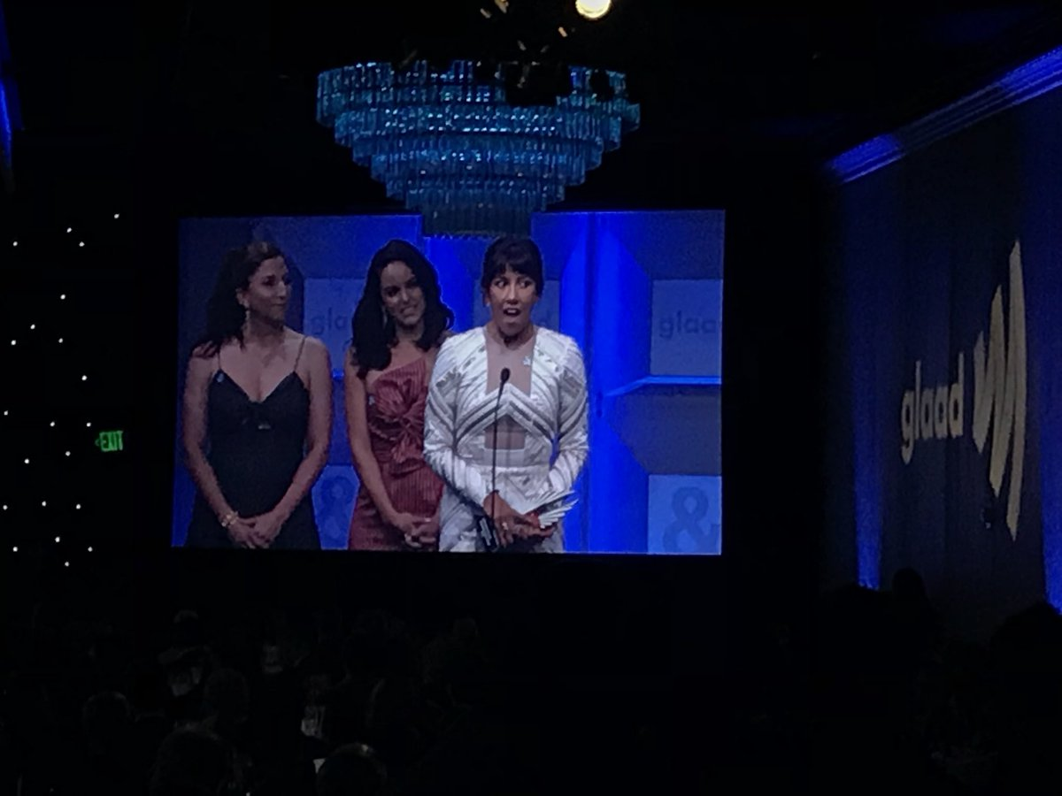 """Every time someone says who they are, it makes the world a better, more interesting place,"" said @iamstephbeatz, quoting #brooklyn99. #glaadawards <br>http://pic.twitter.com/MipXaOx0N8"