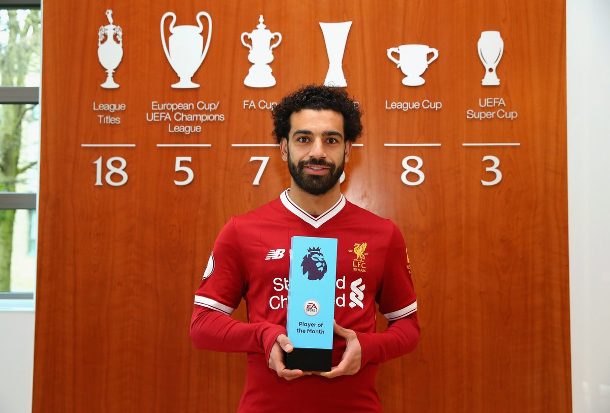 He's done it again… 🏆🏆🏆  @22mosalah has become the first-ever player to win the @premierleague Player of the Month award three times in the same season: https://t.co/0zoJdRrCMT