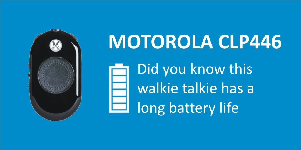 #446Friday - Despite its small form, the powerful @MotoSolsEMEA CLP446 PMR446 #twowayradio can talk for up to 14 hours! Discover more here https://t.co/I6WFcHQFVQ   #pmr446 #businessradio #clp446 #retailtech #heretosupportyou