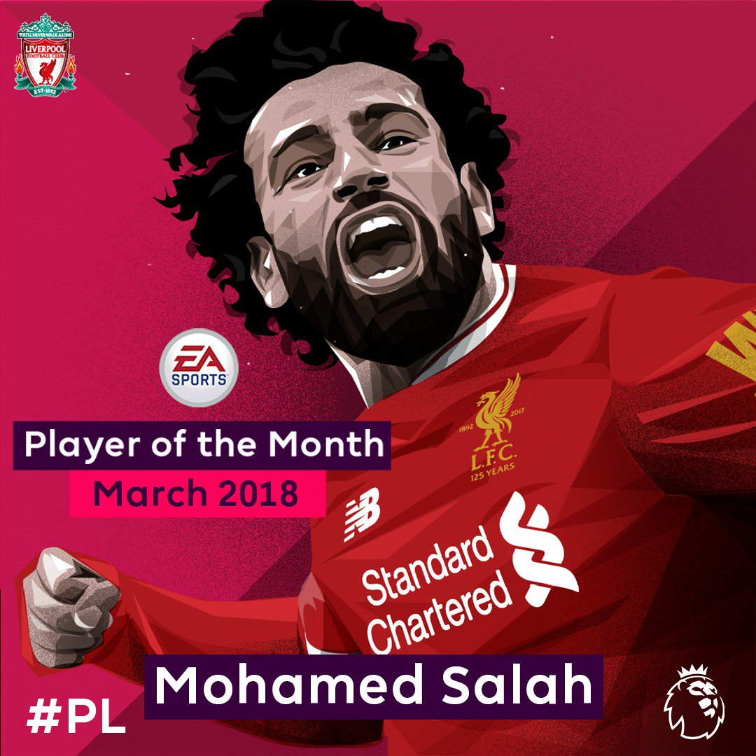 🏆 November 🏆 February 🏆 March   @22mosalah is the 1st player to win @EASPORTSFIFA Player of the Month 3 times in the same season!   #PLawards