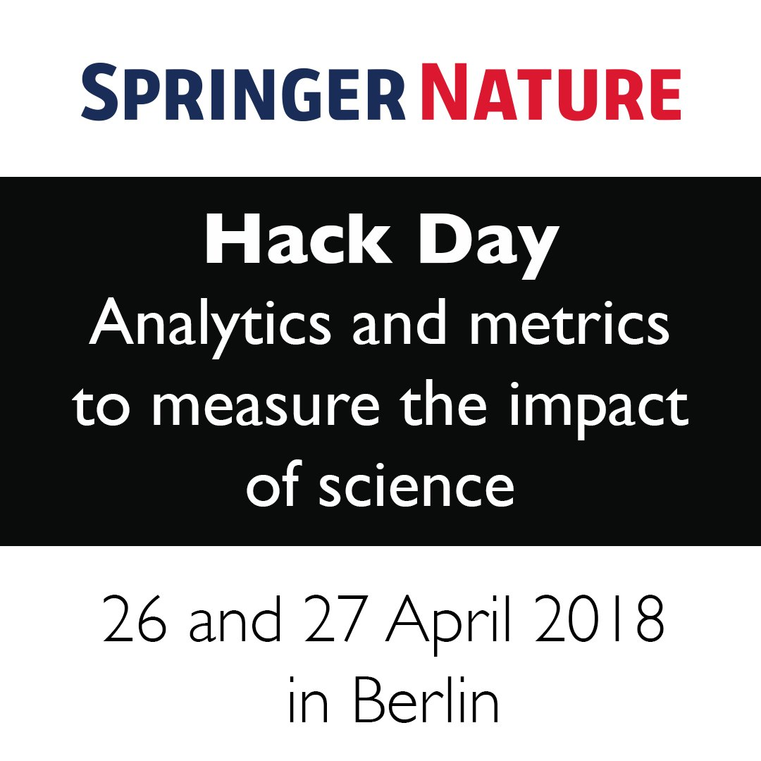 .@SpringerNature is hosting a Hack Day focused on analytics and metrics to measure the impact of science! @DSDimensions are delighted to be providing access to their data for the duration of the hack. #hack #metrics #scholcomm  https://www. digital-science.com/blog/events/si gn-up-for-springer-nature-hack-day/ &nbsp; … <br>http://pic.twitter.com/f2qKhZlunD