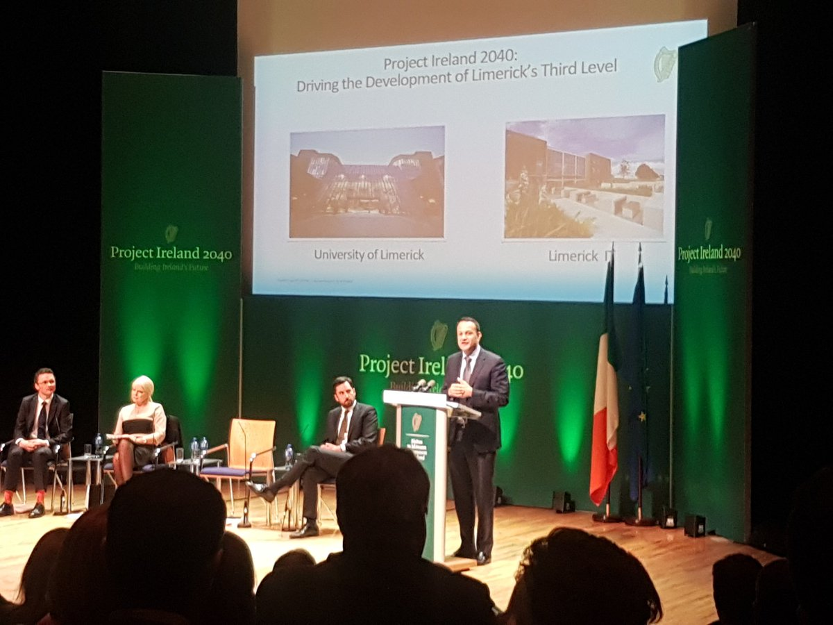 The Toaiseach @campaignforleo  outlines the impact @UL and @DublinCityUni had for their surrounding areas and the country #Ireland2040 #thinkbigatul <br>http://pic.twitter.com/SBeN1ALq5k