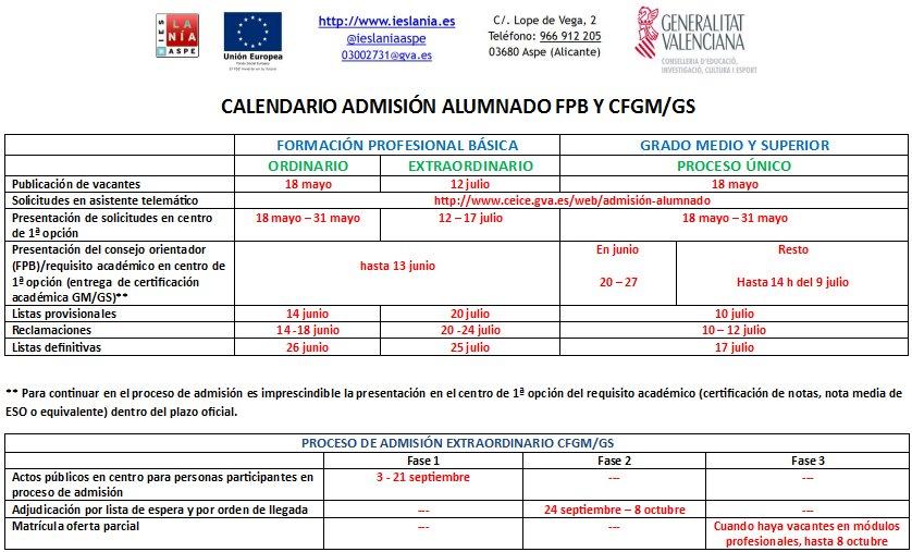 Ies La Nía On Twitter Publicado Del Calendario De Admisión