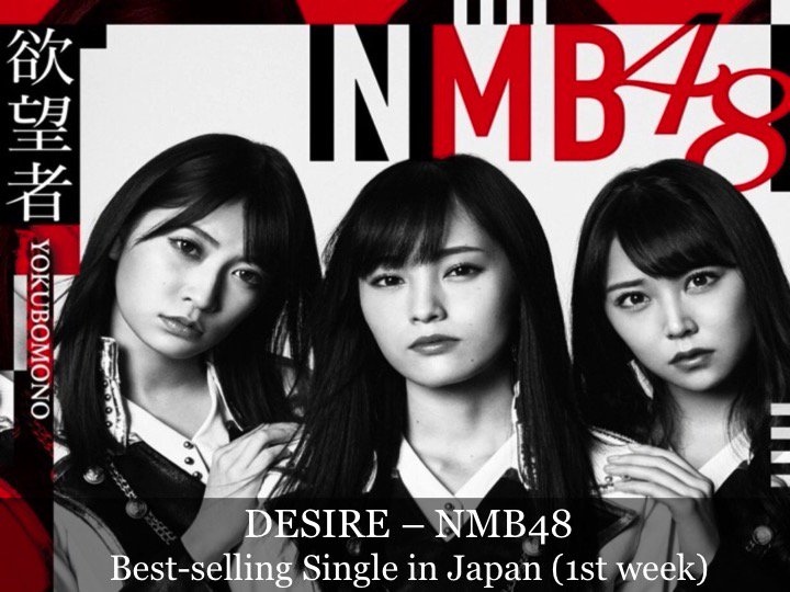 #NMB48s #Desire is N°1 atop the Oricon Singles chart in Japan this week!👏1⃣🇯🇵🎵🔥 facebook.com/worldmusicawar…