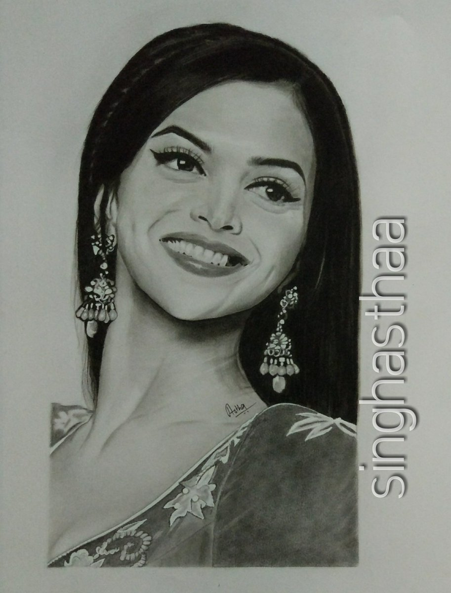Astha singh on twitter pencil sketch of deepikapadukone made by
