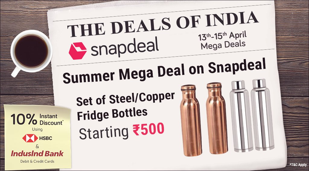 5e7d6e49b83 Summer Mega Deal  Quench your thirst all day with our range of steel    copper bottles starting ₹500 only. Buy now  http   bit.ly SD-TDOI-Bottles   Bottles ...