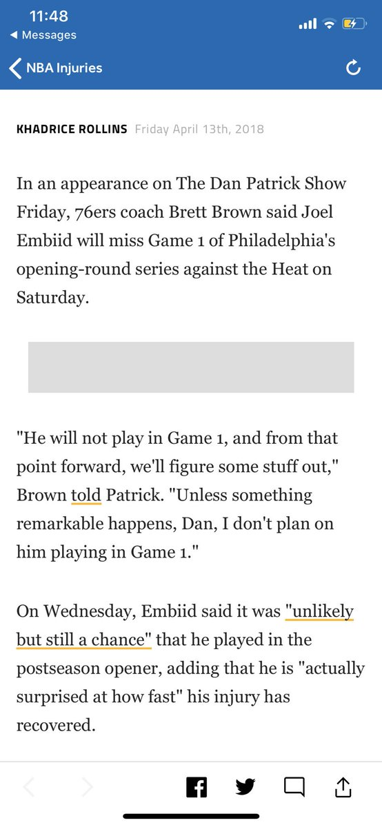 Still won't believe Embiid isn't playing Game 1 until i don't see him out there for tip off
