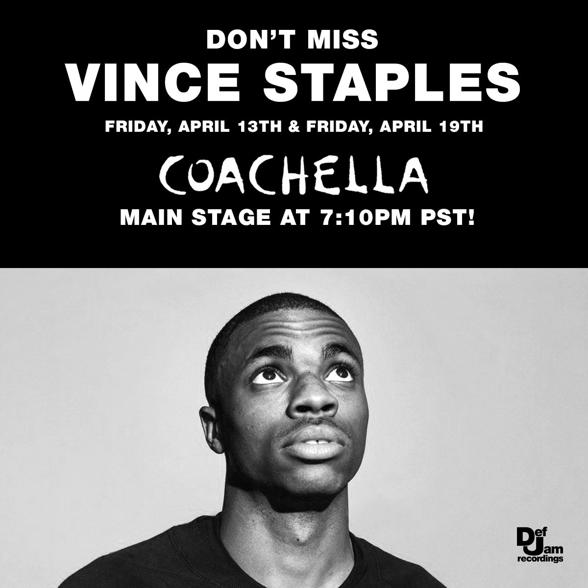 Make sure you guys don't miss @vincestaples at @coachella 🌴 this weekend or next!