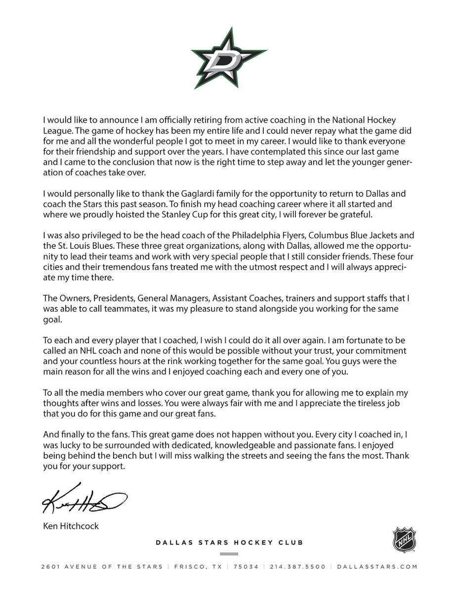 A letter from Hitch.