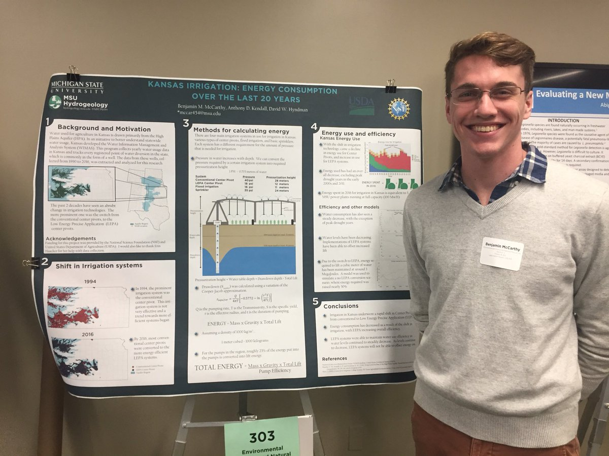 """Congratulations to Ben for scoring a First Place (cash) award at #UURAF2018 for his poster """"Kansas Irrigation: Energy Consumption Over the Last 25 Years""""!"""