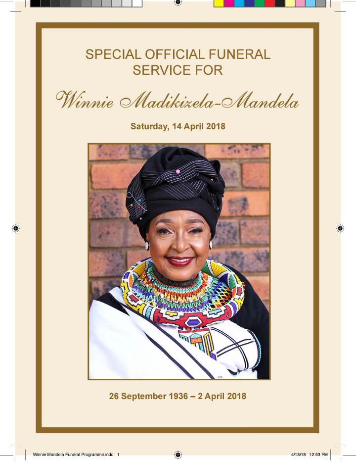 The official #WinnieMandelaFuneral programme has been released. Proceedings will start with the private viewing of the body at her home in Orlando West. The casket convoy is expected to arrive at Orlando Stadium just before 9am. LM
