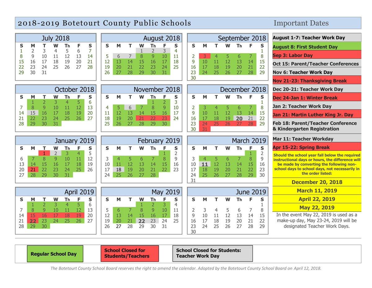 Ny Public School Calendar 2019 Botetourt Co.Schools on Twitter: