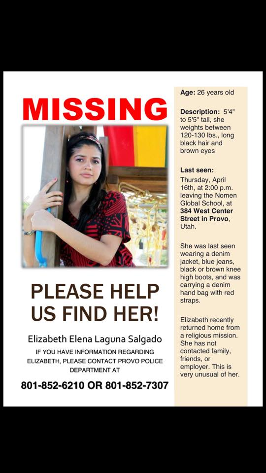 After three years, Elizabeth Salgado's disappearance remains a mystery. Police in Provo, UT today confirmed during a press conference there are still no significant leads on her whereabouts. Please call the police if you have any information. (801) 852-6210.