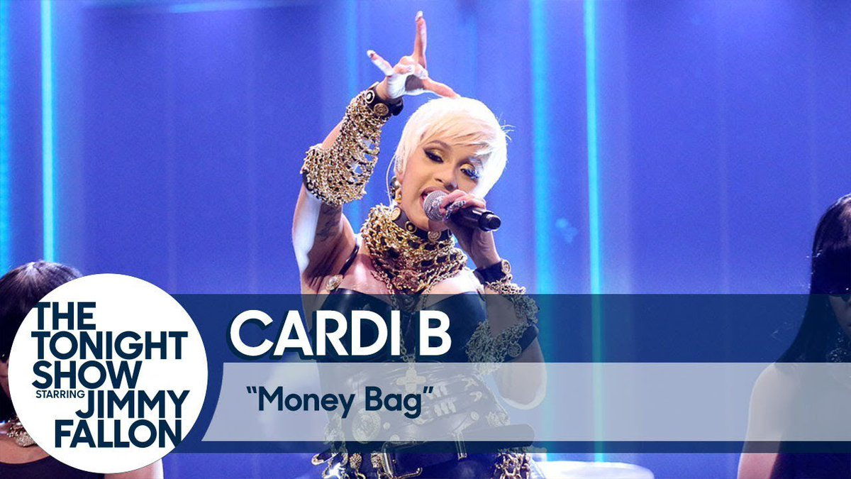 """After co-hosting @FallonTonight with @jimmyfallon, @iamcardib performed #MoneyBag! How do y'all feel about it being the next single, if it were to be? What song, if not """"Money Bag,"""" would you think should be the next single?! #InvasionofPrivacy soundcloud.com/remindmetotell…"""