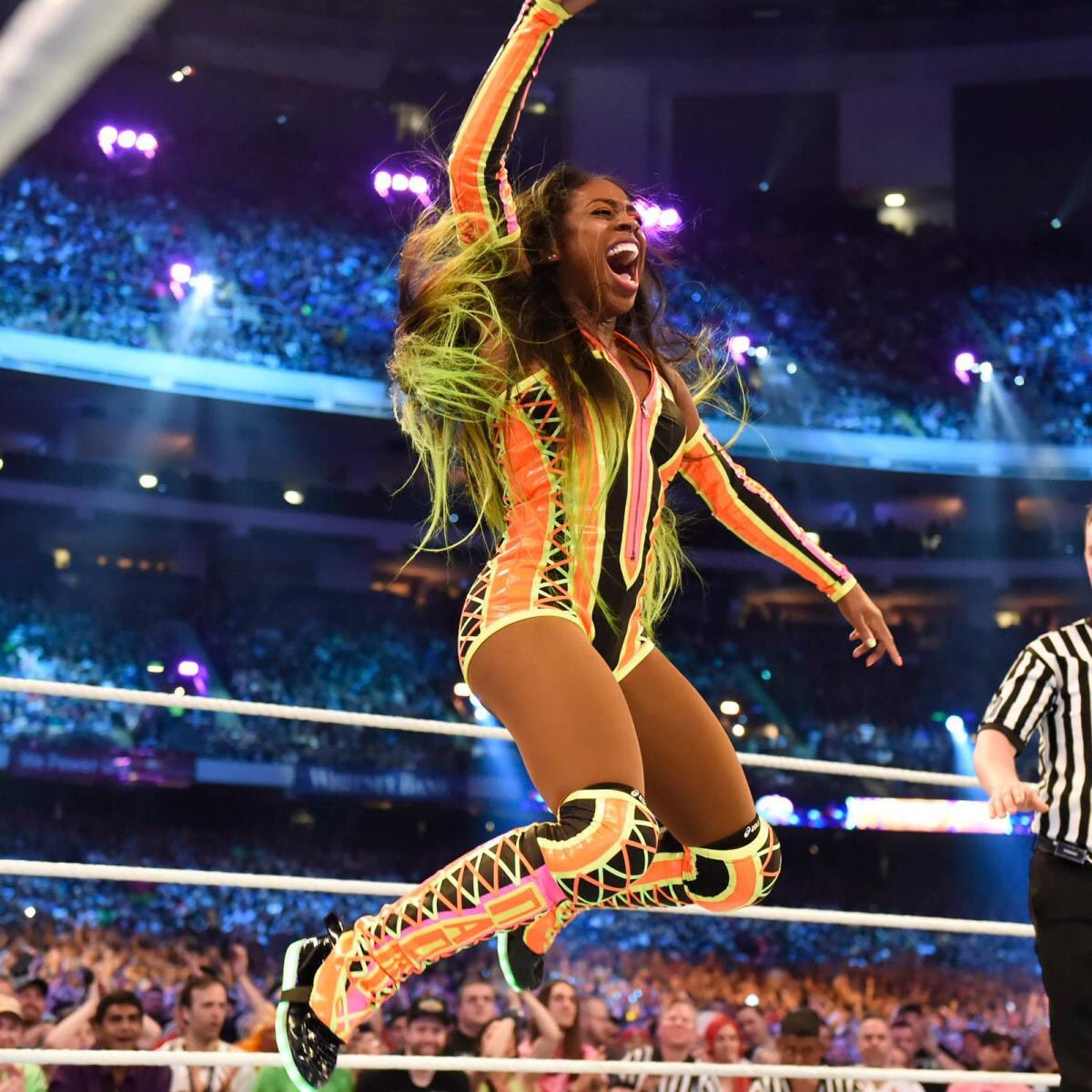Since her debut @NaomiWWE has been a stand out. An entertainer and a phenomenal athlete, she exudes a GLOW.  Congratulations on winning the FIRST EVER @WrestleMania Womens Battle Royal.
