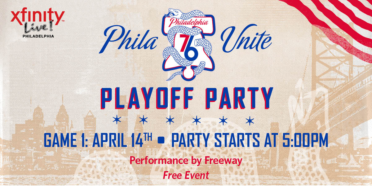 Get your playoff party started tomorrow at @XfinityLive with @Phillyfreezer!  #PhilaUnite x #HereTheyCome https://t.co/OoQy5EV2Tf