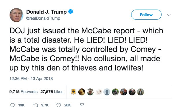 Trump is losing his shit, y&#39;all. I hope you&#39;ve got your protestin&#39; shoes on. #NobodyIsAboveTheLaw #MarchForTruth <br>http://pic.twitter.com/h6MLb54U6k