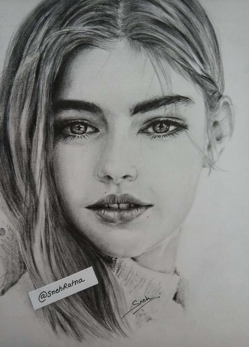 Snehratna di twitter beauty 😊 beautiful girl sketch artwork charcoal pencildrawing ballpen jadeweber jade model brandamesdor music