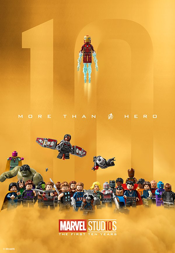 Celebrating 10 years of the Marvel Cinematic Universe with this custom @LEGO_Group poster! #LEGOMarvel https://t.co/HtexJ7pxYF