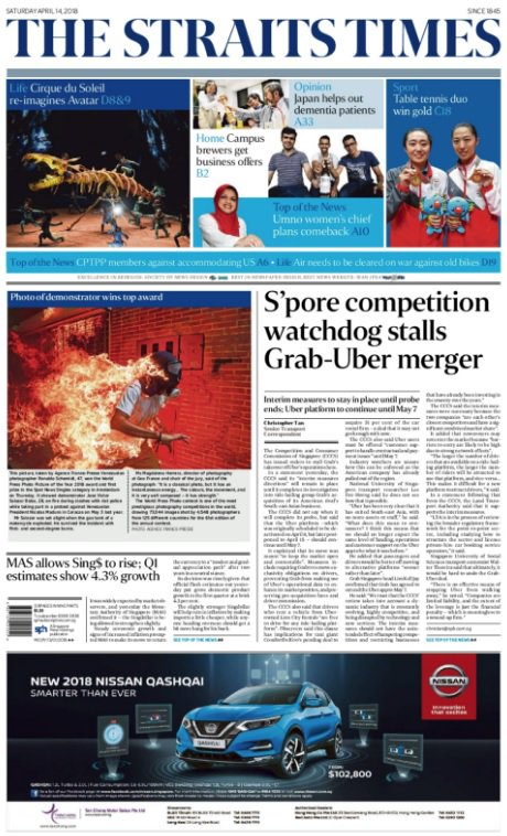 Top story today, april 14 - singapore competition watchdog ...