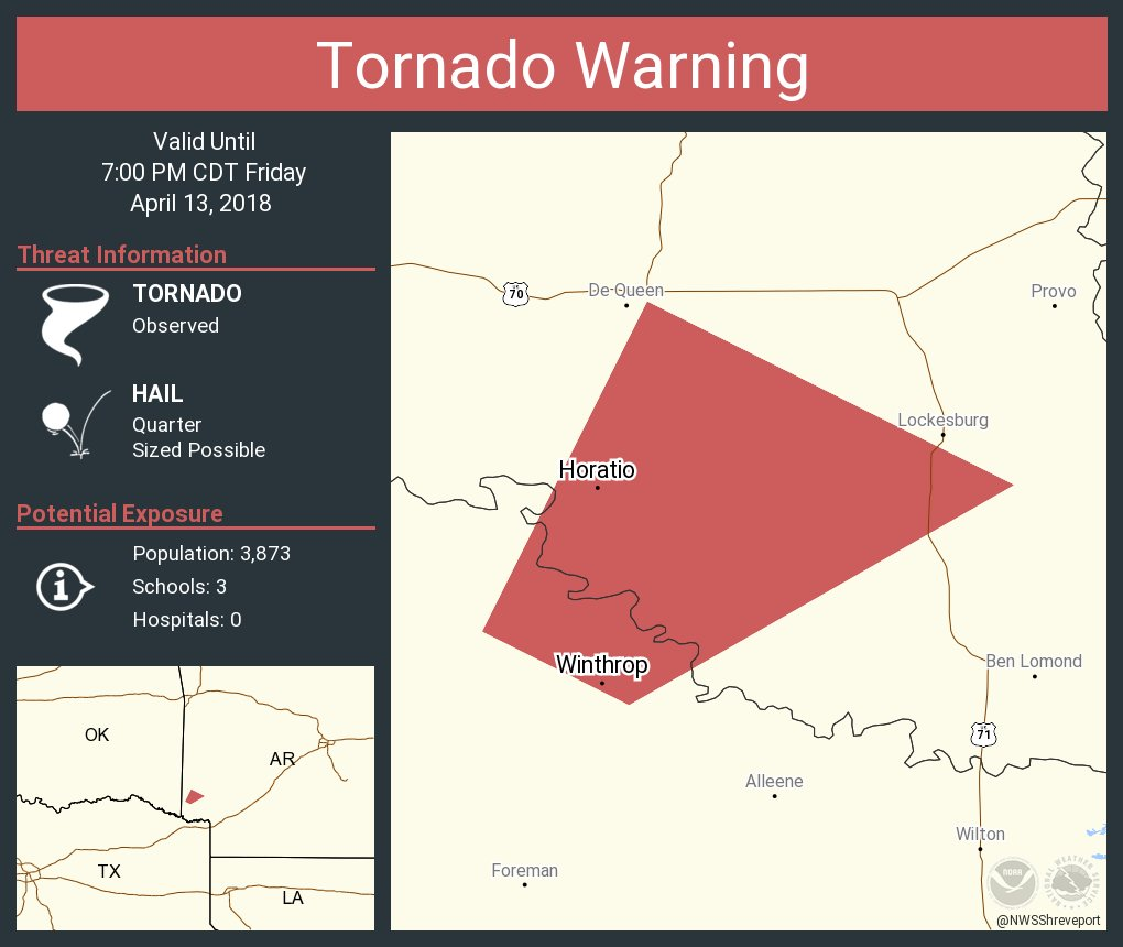 Tornado Warning Including Ozark Ar Charleston Ar Lavaca